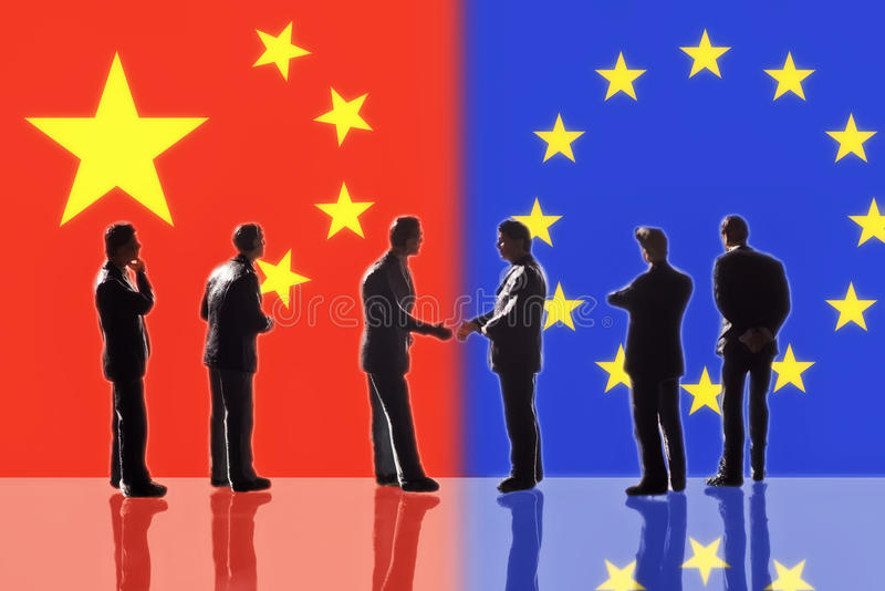 Relations between Europe and China. Symbolic Illustration: Relations between Europe and China stock illustration