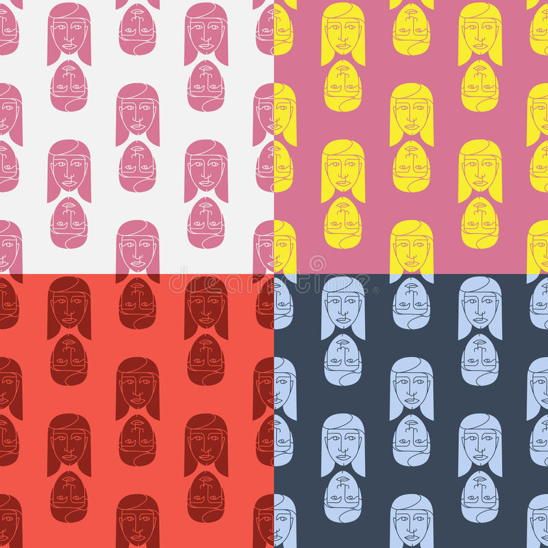 Relations guy and girl. Four seamless pattern boys and girls on the bright background vector illustration