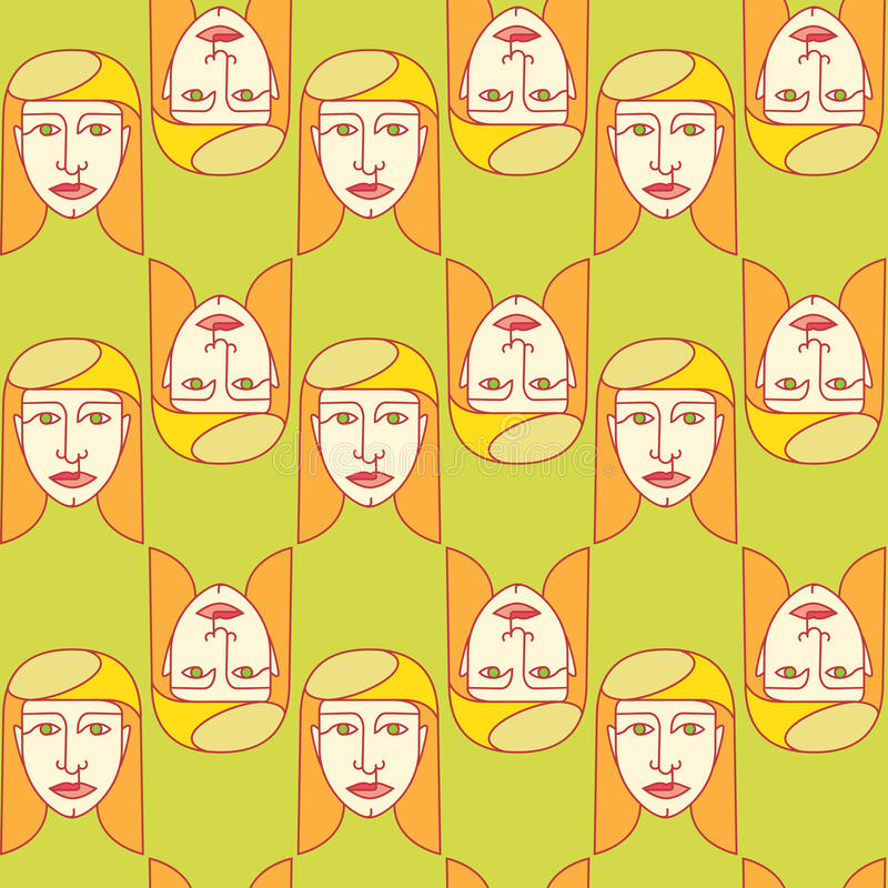Relations guy and girl. Seamless pattern girl on a bright background vector illustration