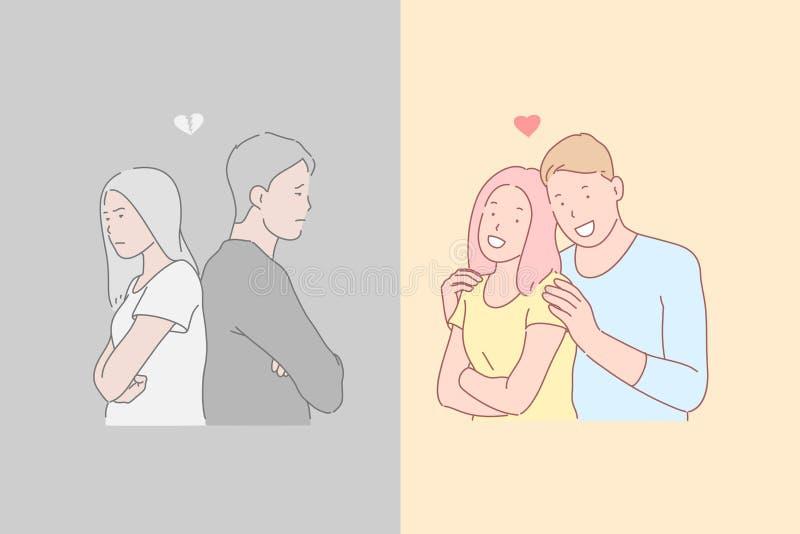 Relations humaines, désaccord et harmonie, concept d'émotions opposées illustration libre de droits