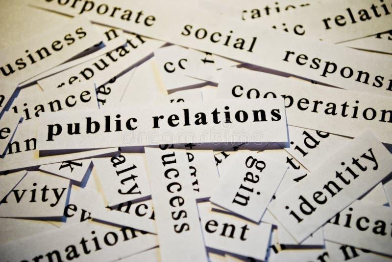Relations publiques, P.R. photographie stock