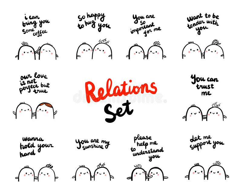 Relations set hand drawn illustration with marshmallows in different situations vector illustration