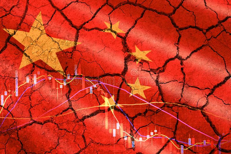 Relations Usa China trade war money tariffs with china flag stock chart on cracked wall - Economy recession conflict tax business stock image