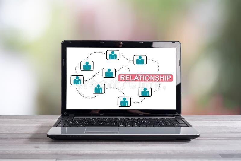 Relationship concept on a laptop screen. Relationship concept shown on a laptop screen royalty free stock photos
