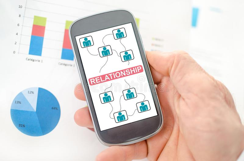 Relationship concept on a smartphone. Held by a hand royalty free stock images