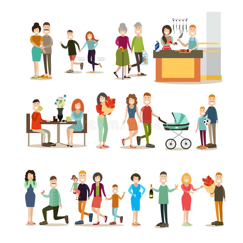 Relationship concept vector flat icon set. Relationship concept vector icon set. Group of family couples, lovers, parents with their kids isolated on white royalty free illustration