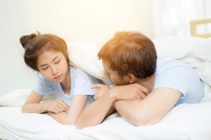 Relationship difficulties, conflict and family concept - unhappy couple having problems stock photos