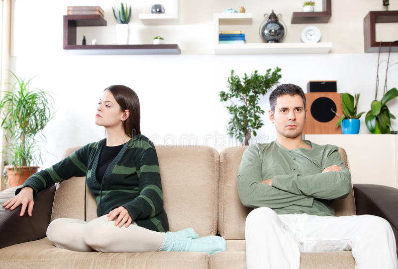 Relationship difficulties. Image of young couple after quarrel stock images