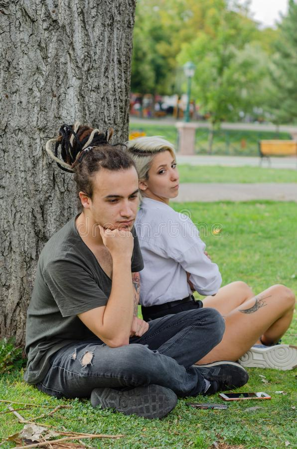 Relationship difficulties: Young couple having a problems. stock images