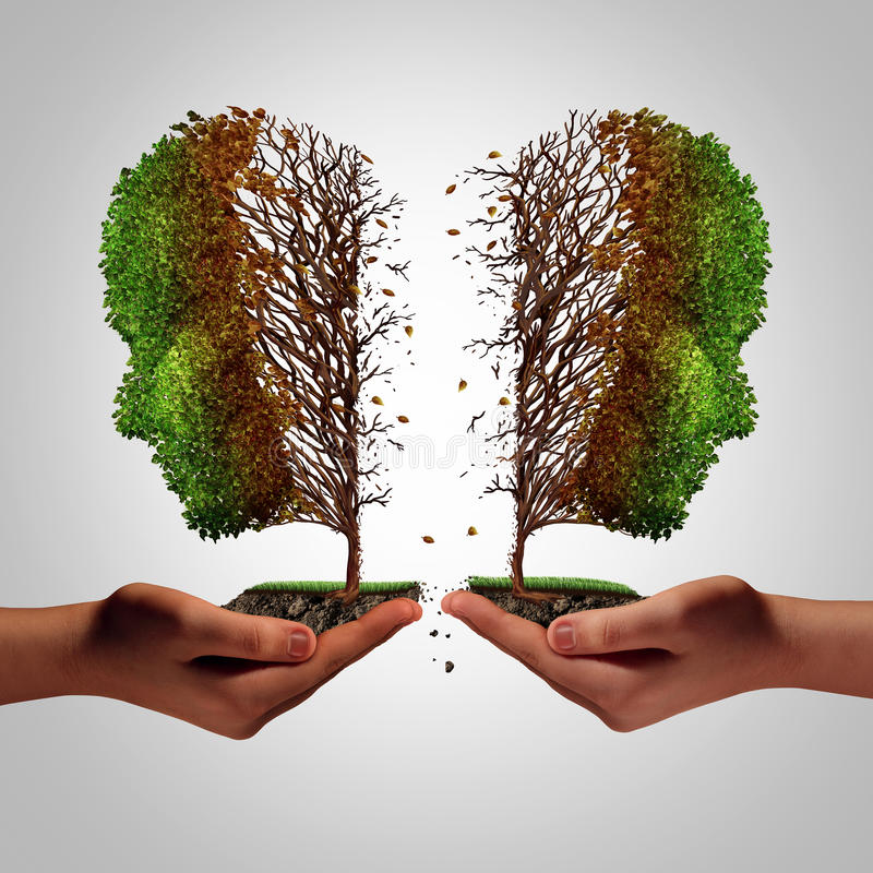 Relationship Failure. As a breakup concept and a damaging separation and painful divorce psychology idea as a divided sick tree shaped as two hurting people stock illustration