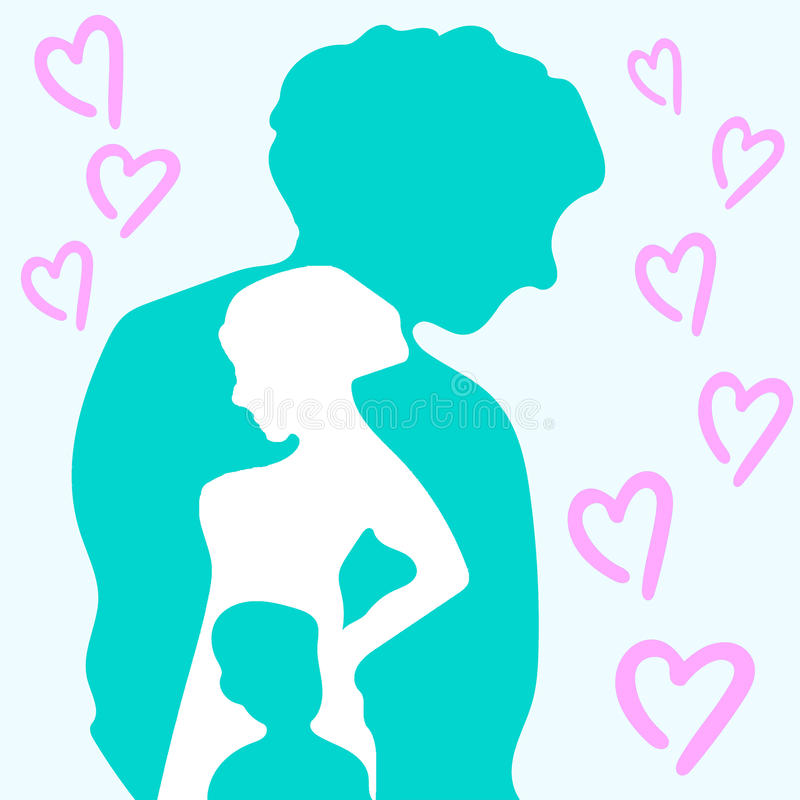 Relationship of the Family, love and peace. Lovely and cute picture of young family. Abstract picture shows relationship between father, mother and little child stock illustration