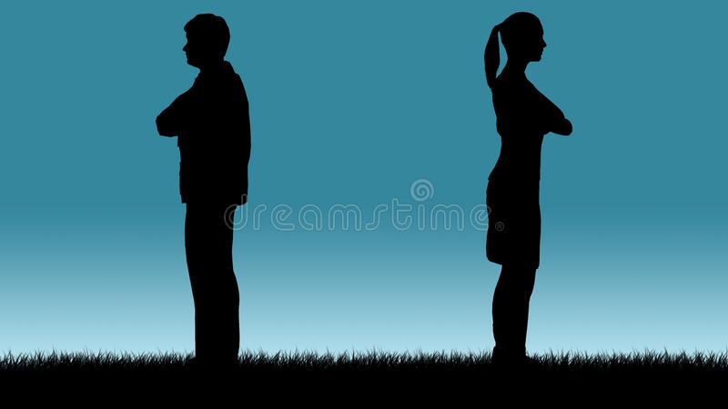 Relationship issue. Couple with relationship problems vector illustration