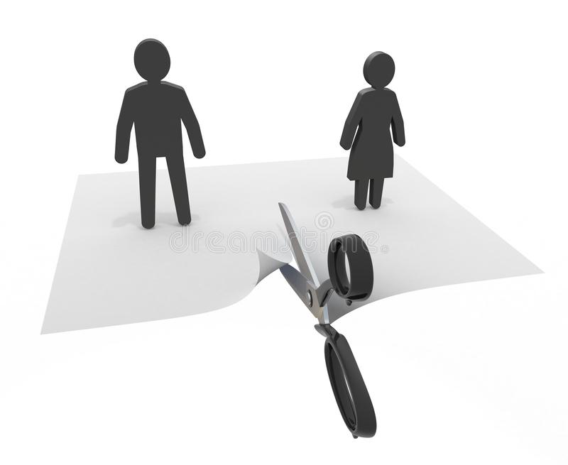 Couple who breaks a relationship 3D illustration royalty free illustration