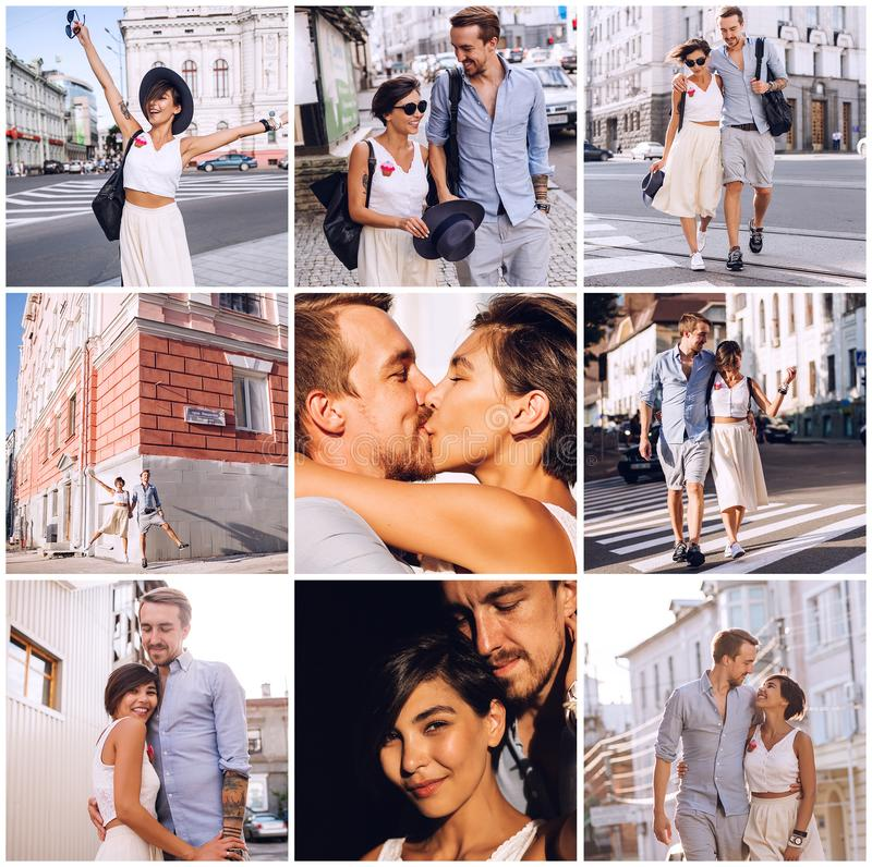 Composition of couple in city royalty free stock photos