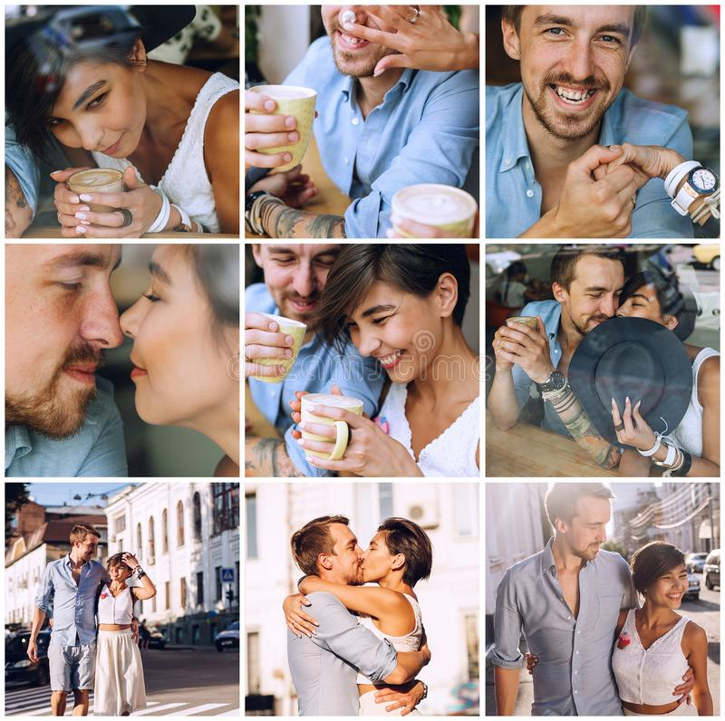 Composition of happy couple in cafe stock images