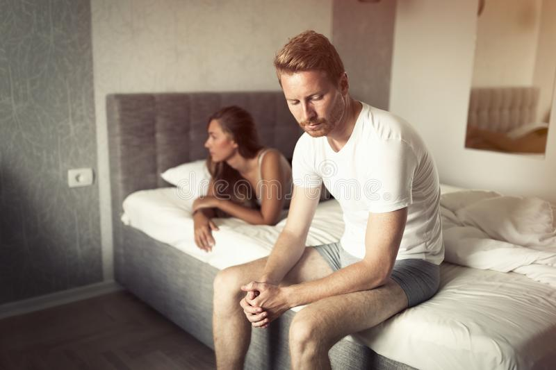 Relationship problems due to stress. Can ruin sex life stock photo
