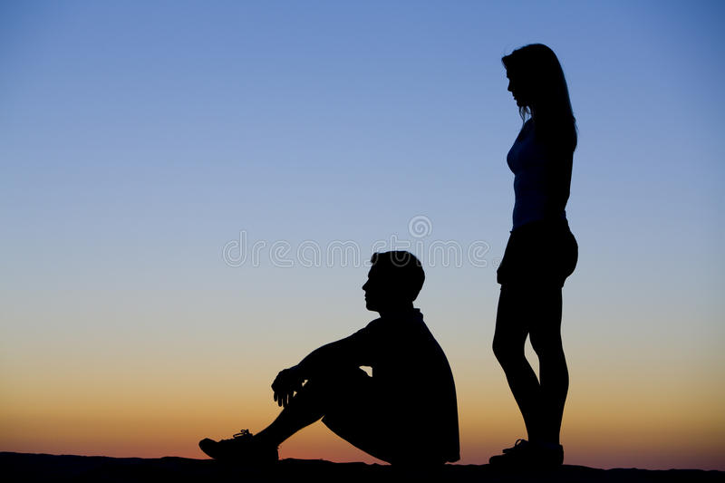 Relationship Silhouette royalty free stock photo