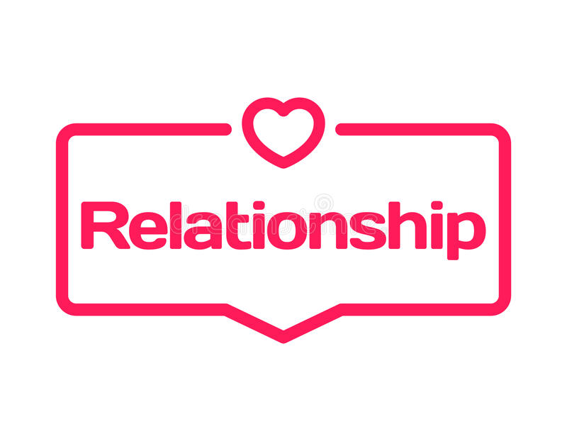 Relationship template dialog bubble in flat style on white background. With heart icon for various word of plot. Vector. Relationship template dialog bubble in stock illustration