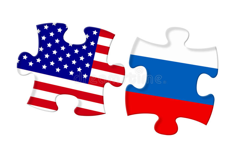 Relationship between United States and Russia. Power of relationship between United States and Russia vector illustration