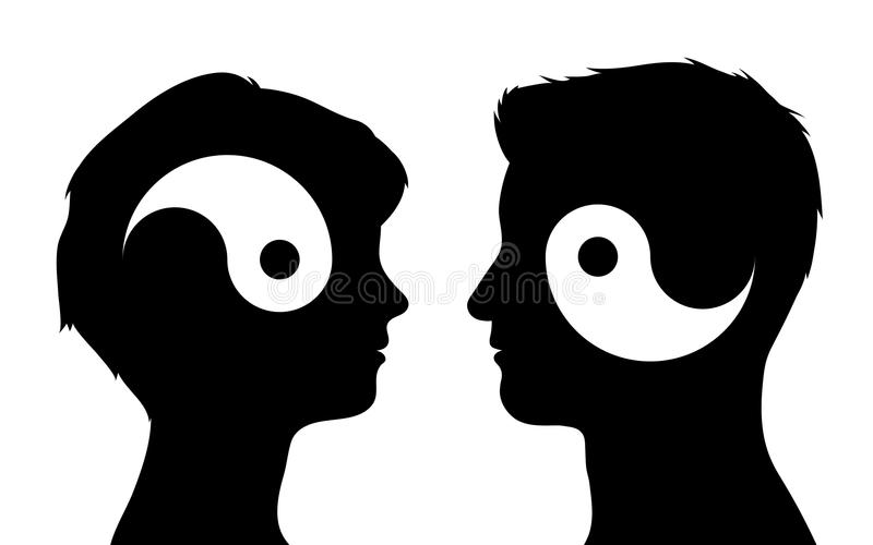 Relationship yin yang couple concept. Yin yang symbols in man and woman head silhouettes, relationship concept, vector illustration stock illustration