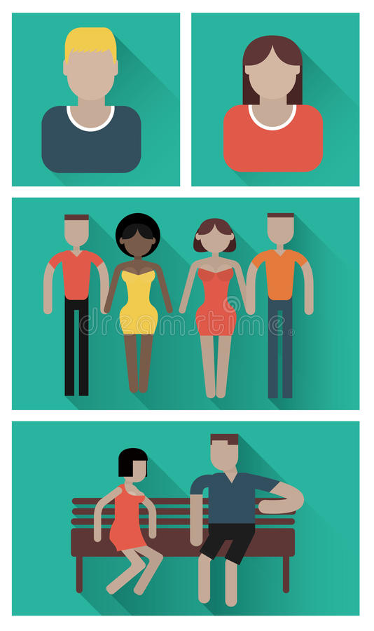 Relationships flat icons. Relationships flat, friends and friendly relations flat icons. People social, person communication, couple human. Vector illustration stock illustration