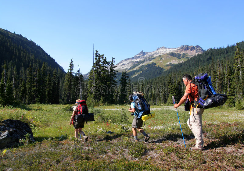 Relatives Hiking in Callaghan Valley stock photography
