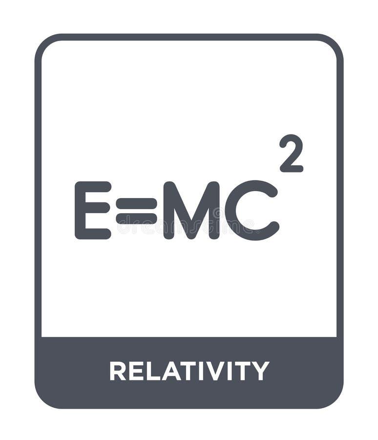 Relativitätsikone in der modischen Entwurfsart Relativitätsikone lokalisiert auf weißem Hintergrund Relativitätsvektorikone einfa lizenzfreie abbildung