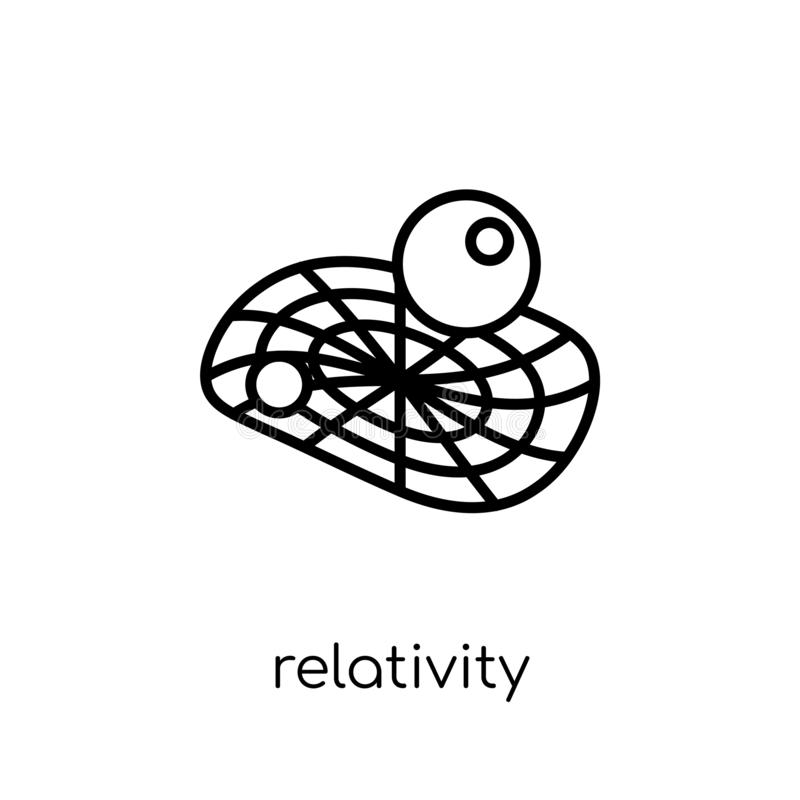 relativity icon. Trendy modern flat linear vector relativity icon on white background from thin line Astronomy royalty free illustration