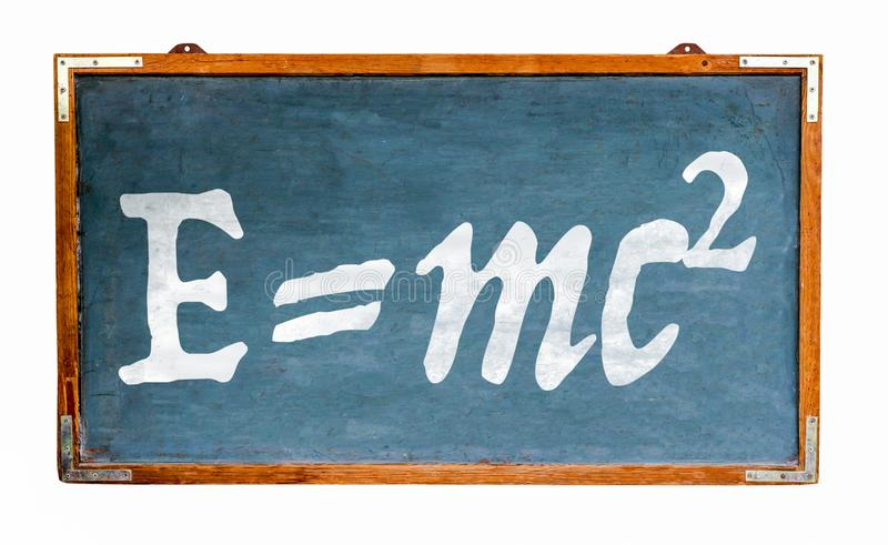Relativity theory E=mc2 equation mass energy equivalence on blue old grungy vintage wide wooden chalkboard retro blackboard royalty free stock images