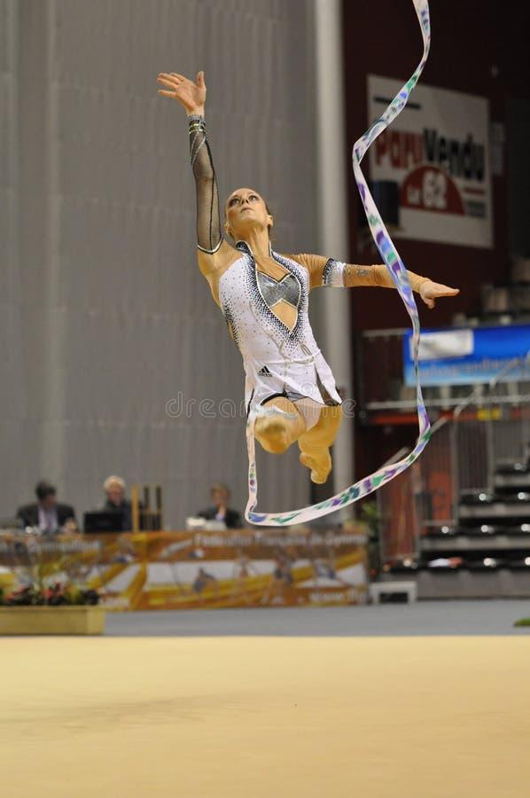 Relativo alla ginnastica ritmico, Delphine Ledoux, Francia fotografia stock libera da diritti