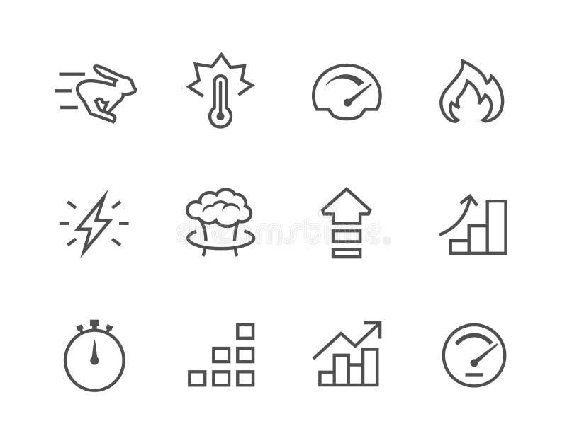 Relativo stabilito dell'icona semplice alla prestazione illustrazione vettoriale