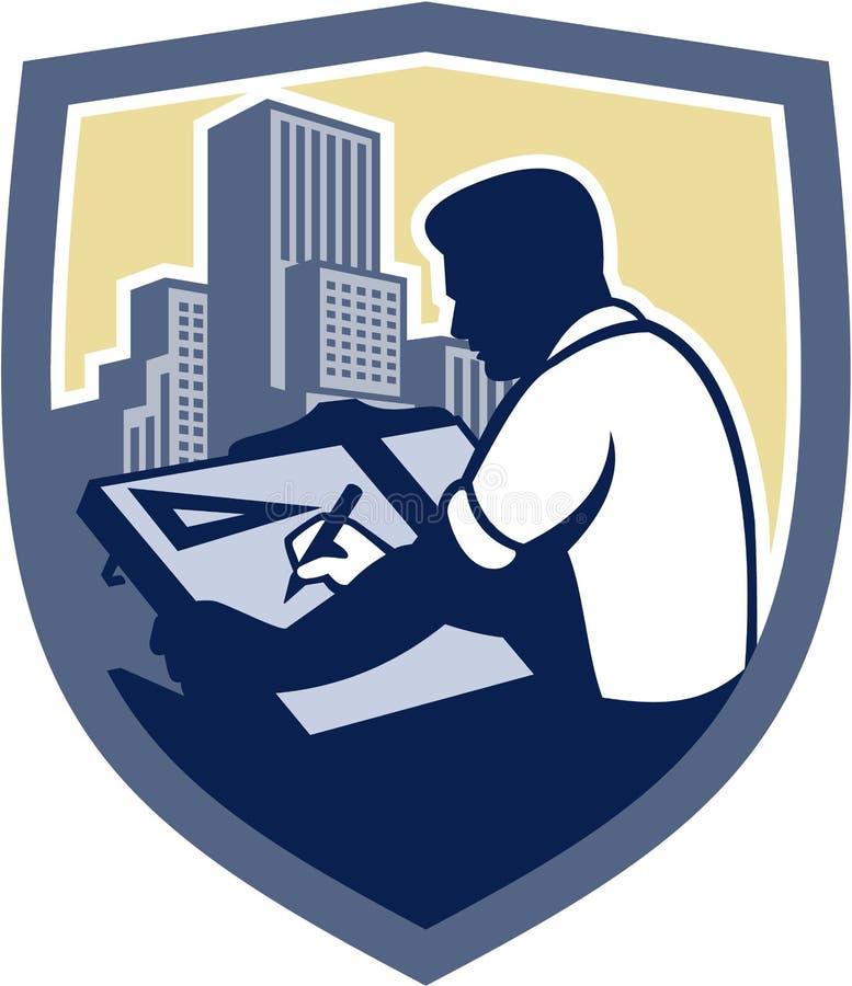 Relator Drawing Shield Retro do arquiteto ilustração royalty free