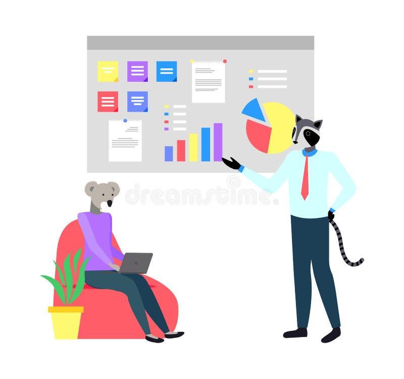 Relatore e lavoratore, animali dei pantaloni a vita bassa sul lavoro illustrazione vettoriale
