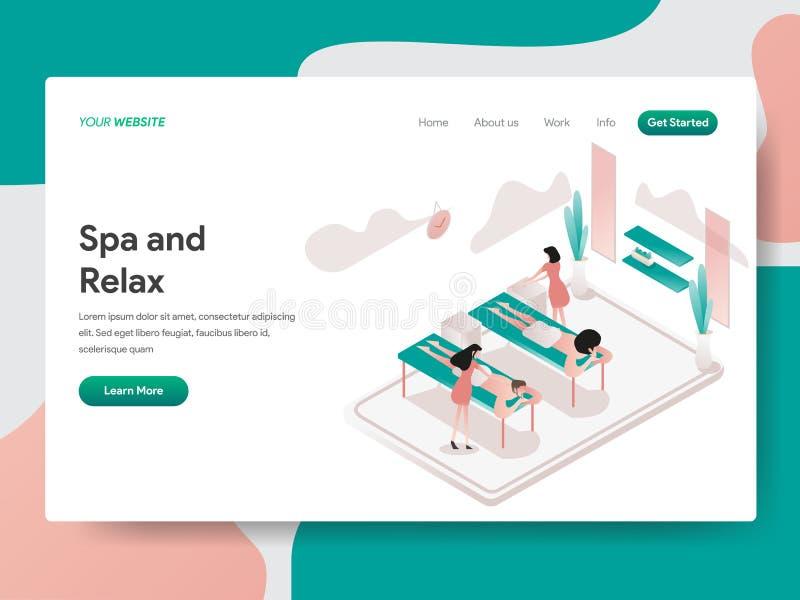 Relax和温泉室例证概念登陆的页模板  网页设计的等量设计观念网站的和 库存例证