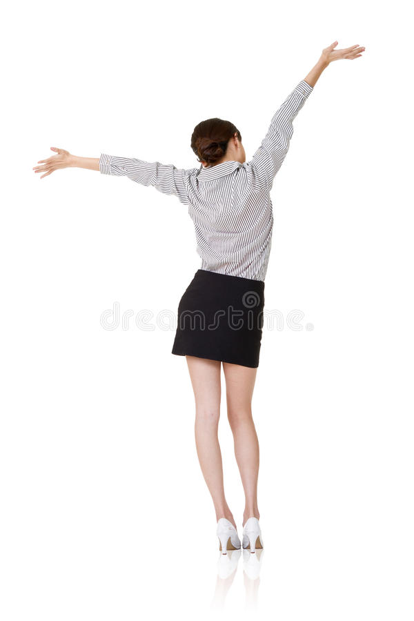 Relax. Young business woman relax, rear view, isolate on white stock photos