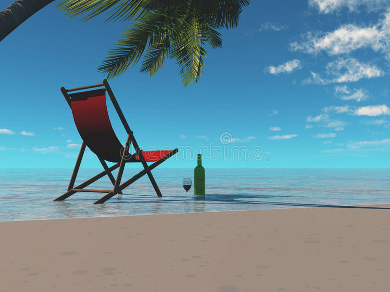 Relax. Beach chair, wine, fantasic view, what a way to relax royalty free illustration