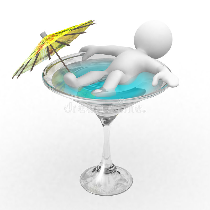 Relax. Ing on a drink with an umbrella stock illustration