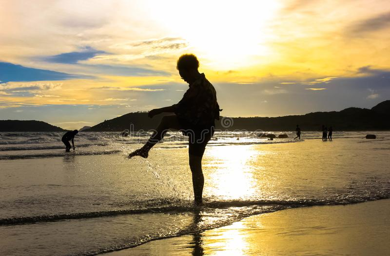 Relax on the beautiful sunset beach stock images