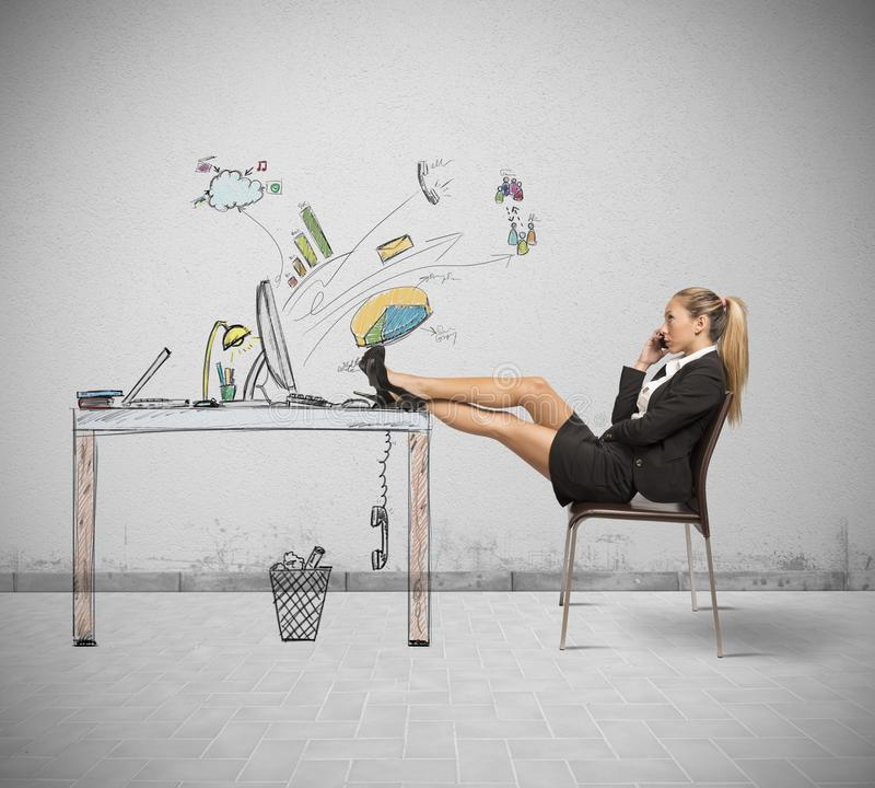 Relax of a businesswoman royalty free stock photo