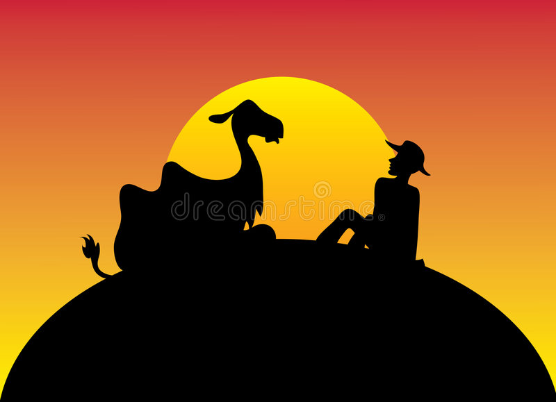 Relax with a camel. Illustration - black silhouettes of a lying camel and a sitting person with a sunset in the background royalty free illustration