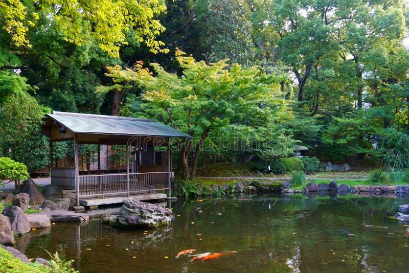 Relax in the center of Tokyo. Yasukuni Jinja inner garden. Pond in the Japanese garden stock photography