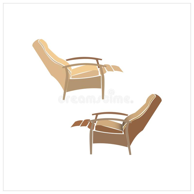 Relax chair, recliner chair isolated on white background, furniture for relaxing, vector illustration isolated on a. White background stock illustration