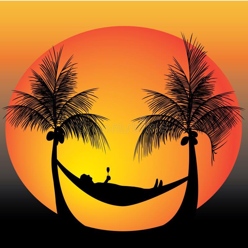 Relax on a hammock vector illustration