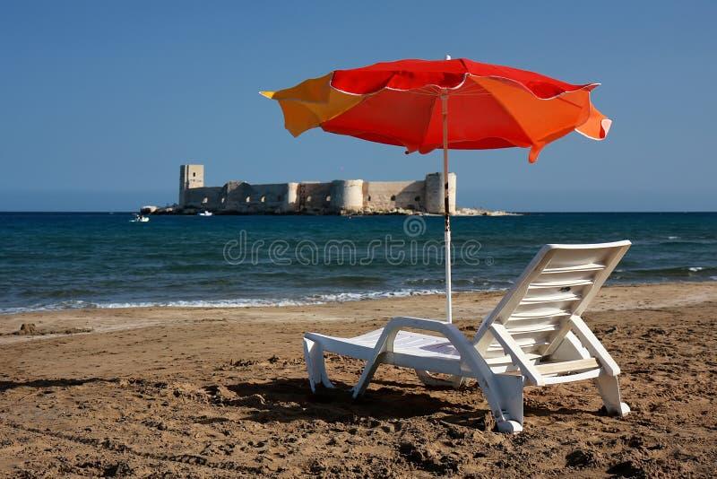 Relax at Kizkalesi Maiden's Castle Beach stock photography