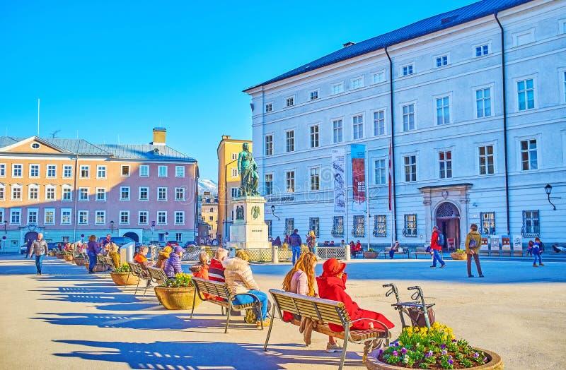 Relax in Mozaartplatz, Salzburg, Austria royalty free stock image