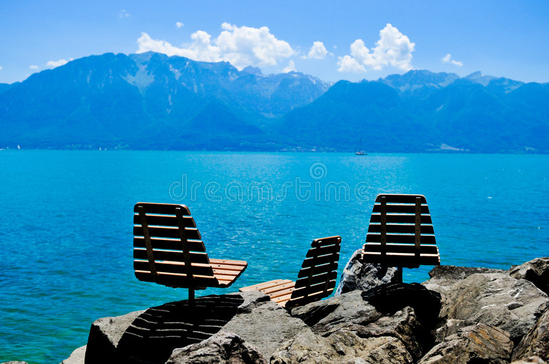 Relax near the lake stock photography