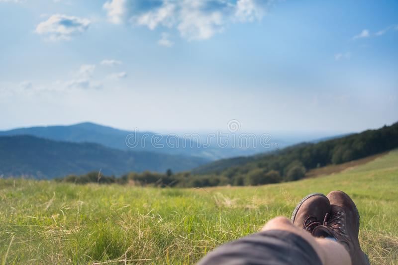 Relax people on polish mouuntain stock images