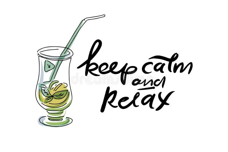 relax quote stock vector illustration of design handwritten