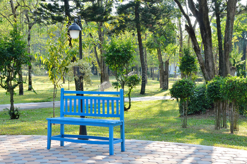 Blue wooden bench in garden. Relax with sitting blue wooden bench in garden stock photo