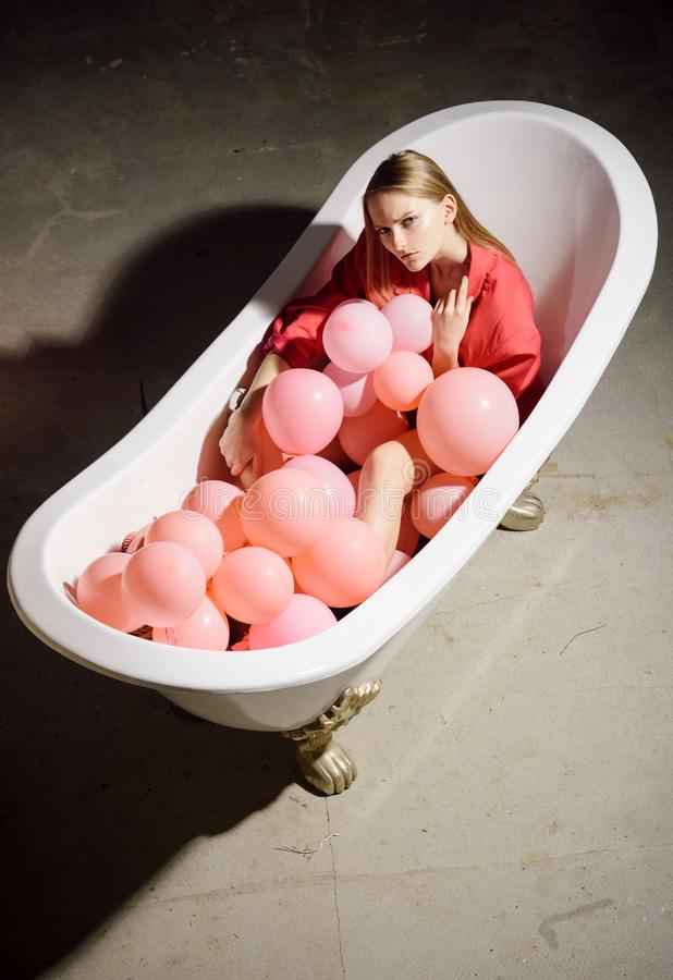 Relax, spa wellness concept. Happy woman having fun with balloons. Pretty girl relaxing. Relax, spa wellness concept. Happy woman having fun with balloons stock images